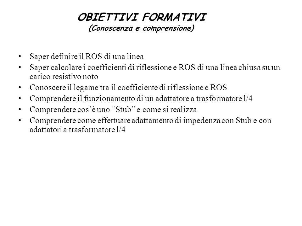 OBIETTIVI FORMATIVI (Conoscenza e comprensione)