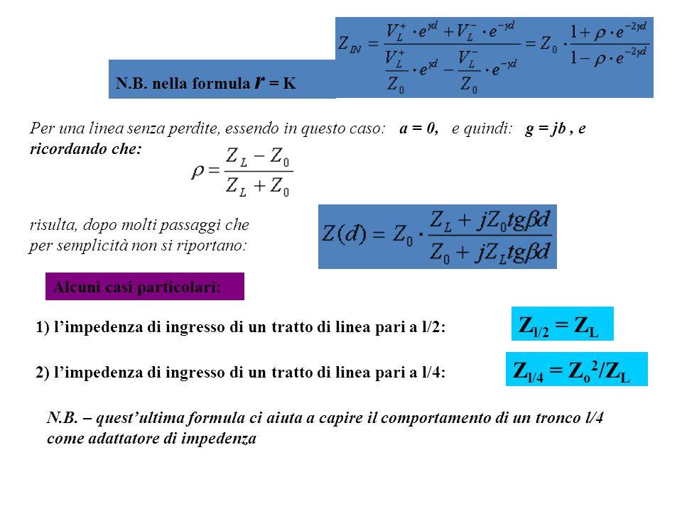 Zl/2 = ZL Zl/4 = Zo2/ZL N.B. nella formula r = K