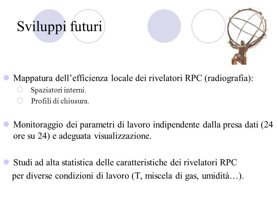 Sviluppi futuri Mappatura dell'efficienza locale dei rivelatori RPC (radiografia): Spaziatori interni.