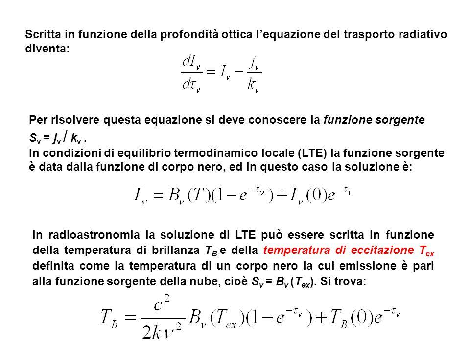 Scritta in funzione della profondità ottica l'equazione del trasporto radiativo diventa: