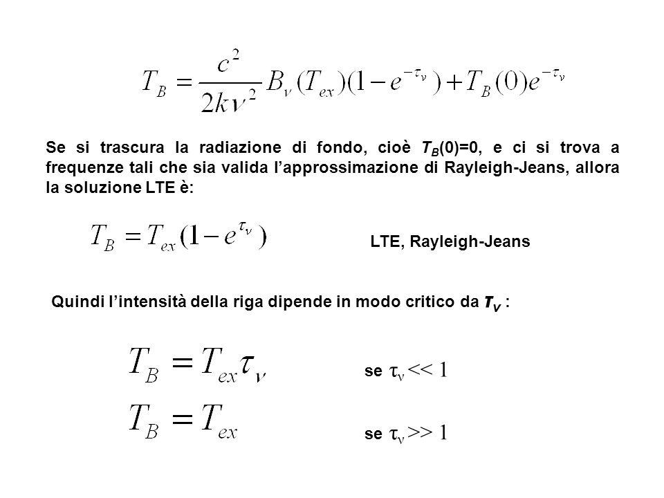 Se si trascura la radiazione di fondo, cioè TB(0)=0, e ci si trova a frequenze tali che sia valida l'approssimazione di Rayleigh-Jeans, allora la soluzione LTE è: