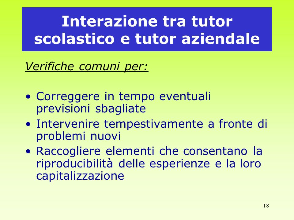 Interazione tra tutor scolastico e tutor aziendale