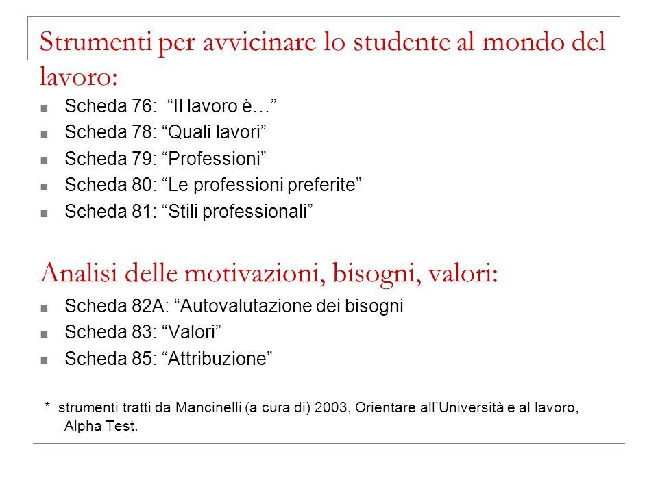 Strumenti per avvicinare lo studente al mondo del lavoro: