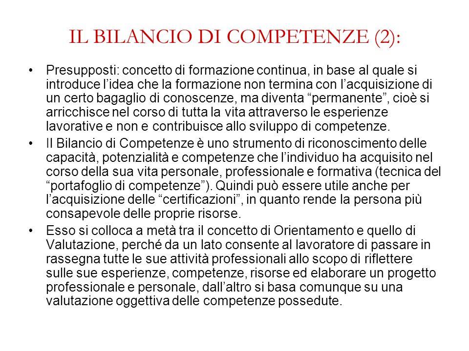 IL BILANCIO DI COMPETENZE (2):