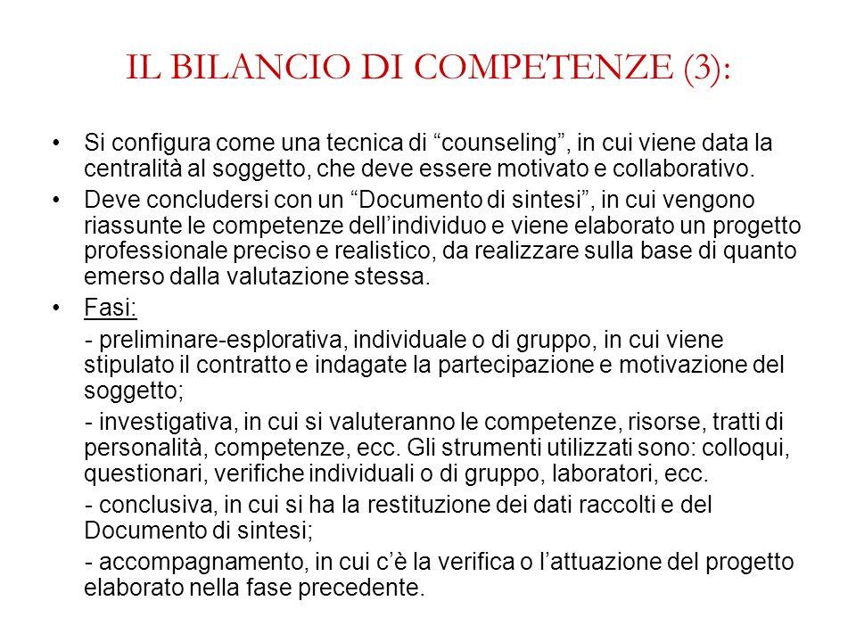 IL BILANCIO DI COMPETENZE (3):