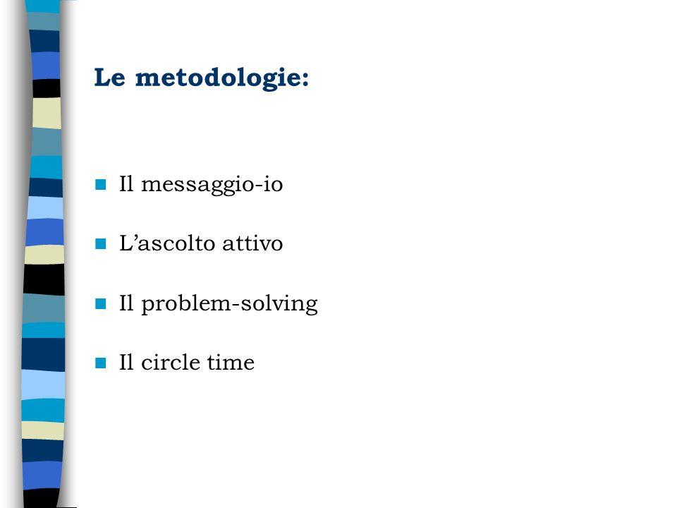 Le metodologie: Il messaggio-io L'ascolto attivo Il problem-solving