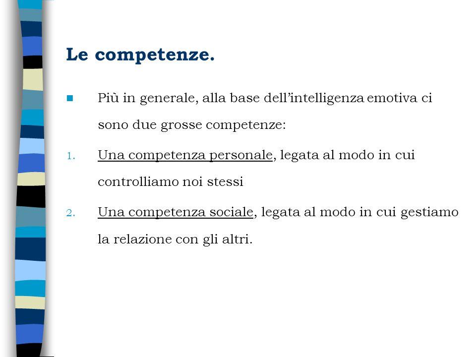 Le competenze. Più in generale, alla base dell'intelligenza emotiva ci sono due grosse competenze: