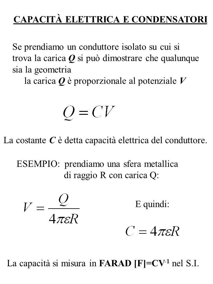 CAPACITÀ ELETTRICA E CONDENSATORI