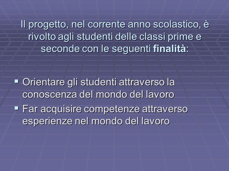 Il progetto, nel corrente anno scolastico, è rivolto agli studenti delle classi prime e seconde con le seguenti finalità: