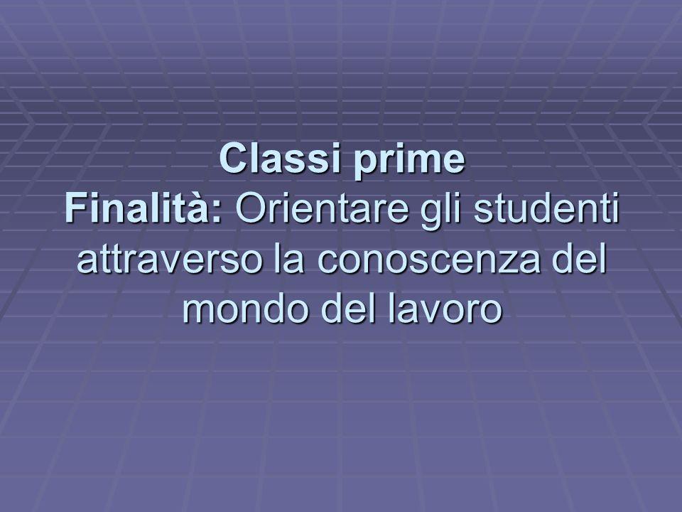 Classi prime Finalità: Orientare gli studenti attraverso la conoscenza del mondo del lavoro
