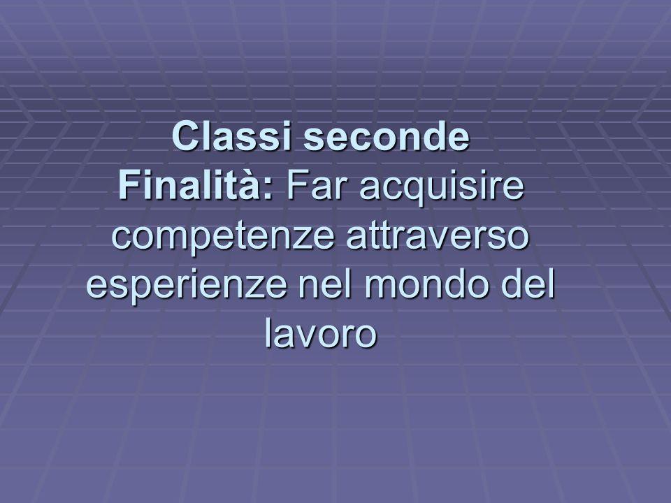 Classi seconde Finalità: Far acquisire competenze attraverso esperienze nel mondo del lavoro