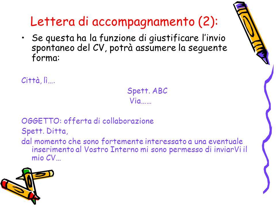 Lettera di accompagnamento (2):