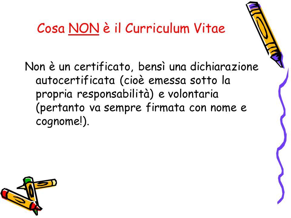 Cosa NON è il Curriculum Vitae