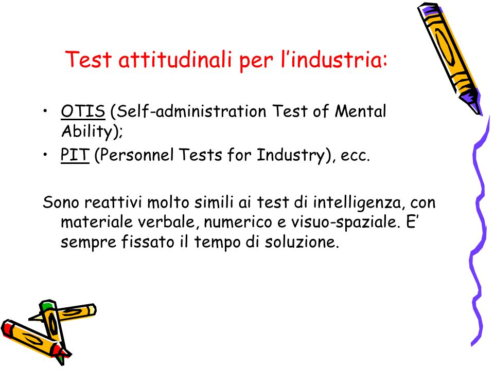 Test attitudinali per l'industria: