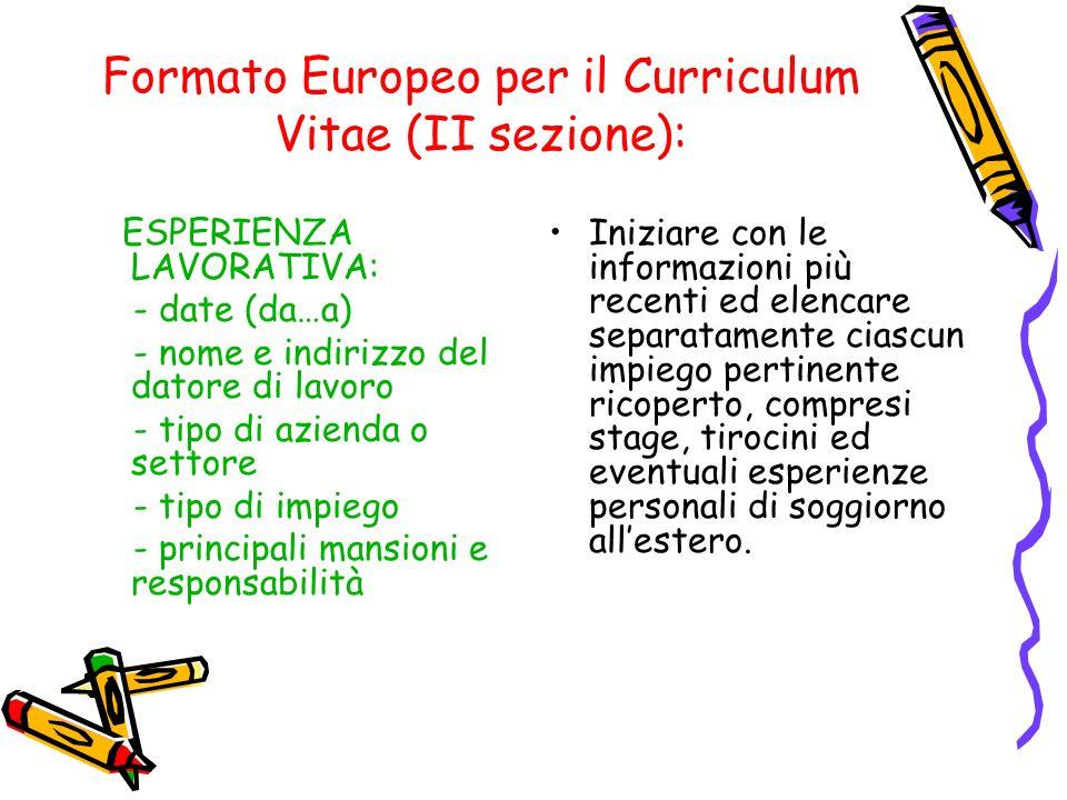 Formato Europeo per il Curriculum Vitae (II sezione):