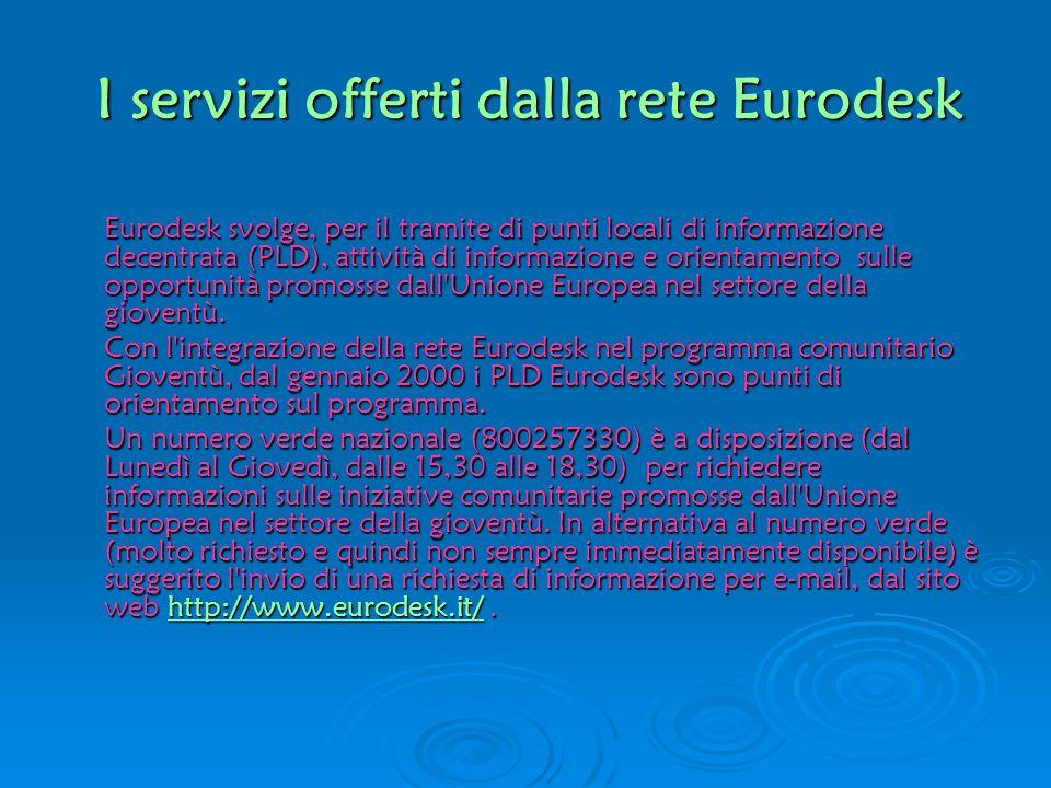 I servizi offerti dalla rete Eurodesk