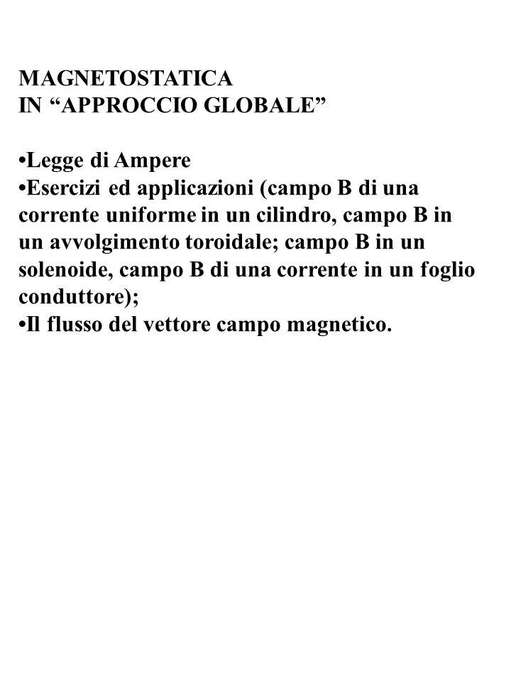 MAGNETOSTATICA IN APPROCCIO GLOBALE •Legge di Ampere.