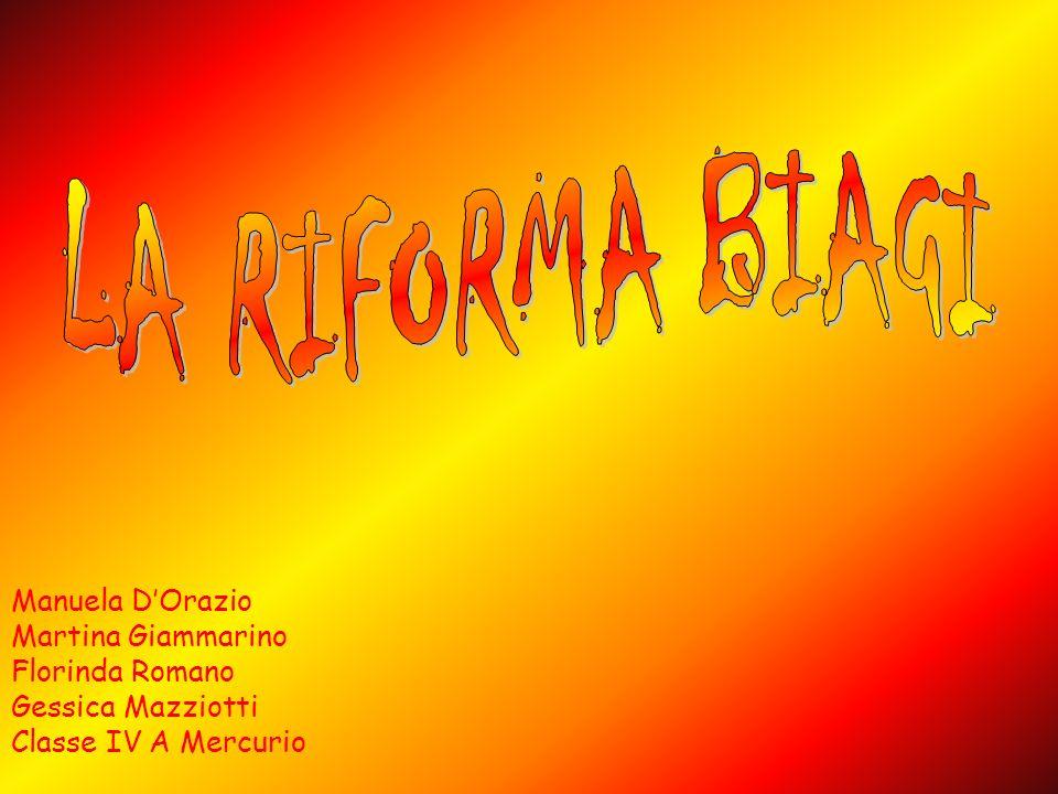 LA RIFORMA BIAGI Manuela D'Orazio Martina Giammarino Florinda Romano