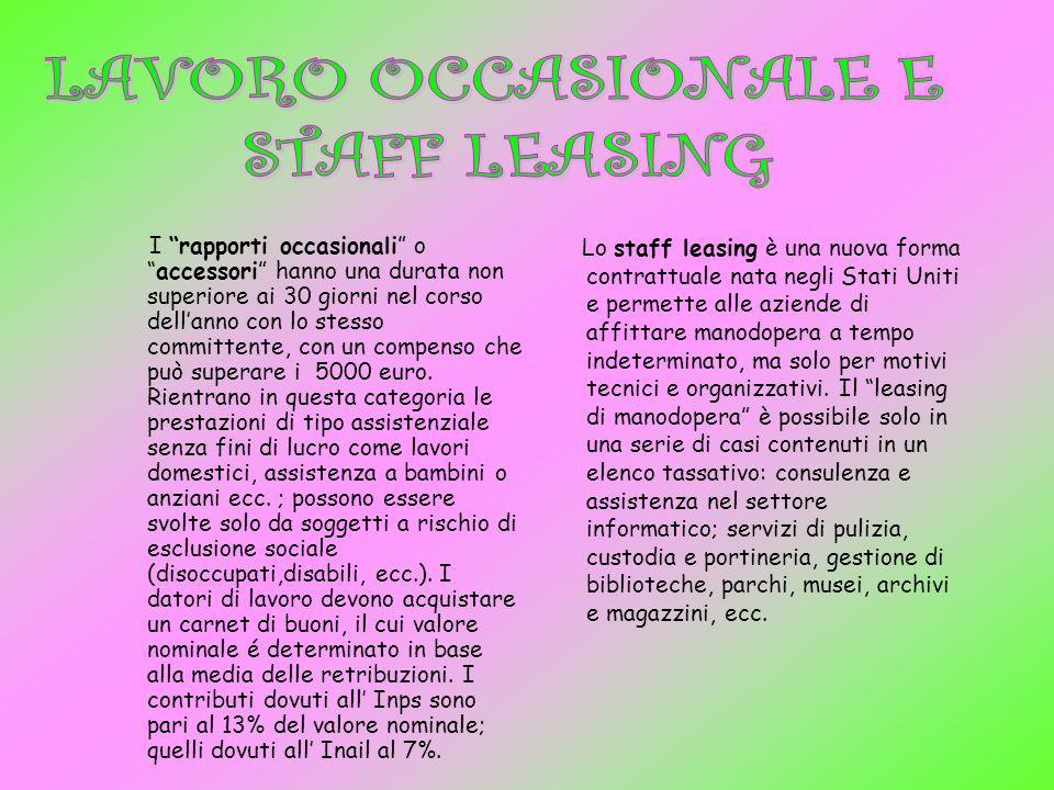LAVORO OCCASIONALE E STAFF LEASING