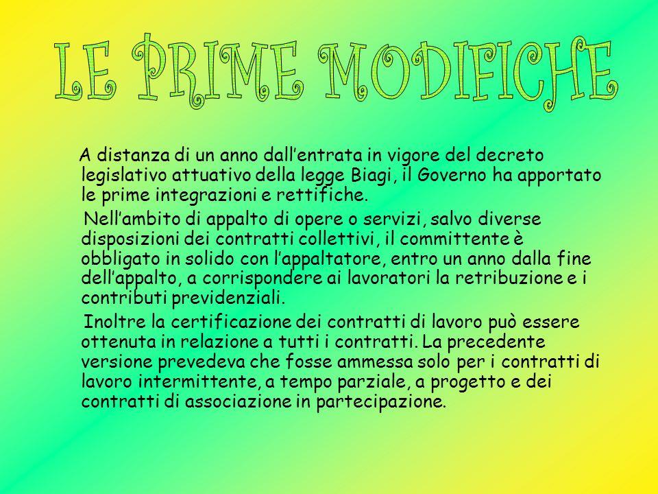 LE PRIME MODIFICHE