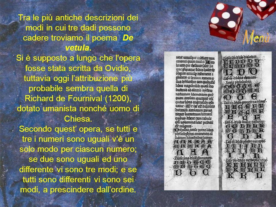 Tra le più antiche descrizioni dei modi in cui tre dadi possono cadere troviamo il poema De vetula.