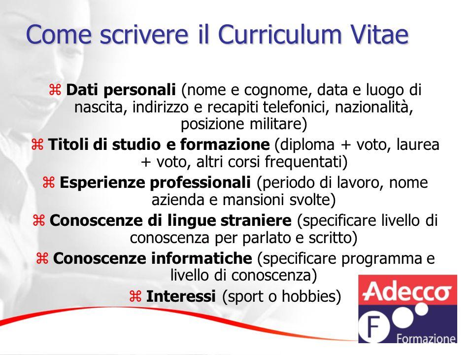 Come scrivere il Curriculum Vitae