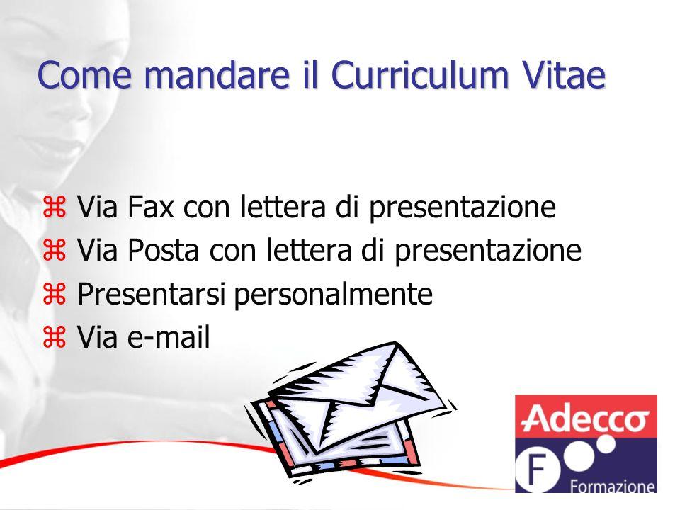 Come mandare il Curriculum Vitae