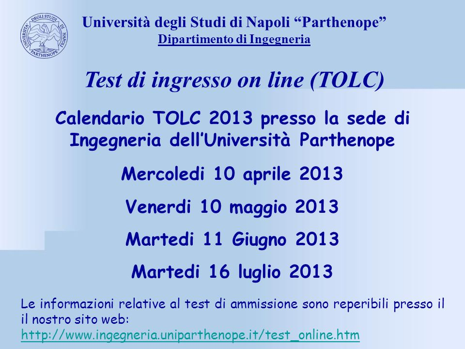 Test di ingresso on line (TOLC)