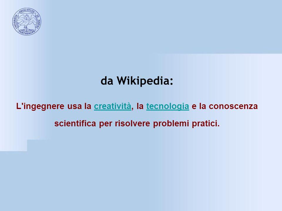da Wikipedia: L ingegnere usa la creatività, la tecnologia e la conoscenza scientifica per risolvere problemi pratici.
