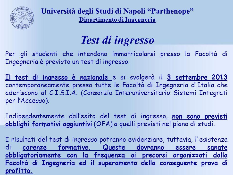 Test di ingresso Università degli Studi di Napoli Parthenope