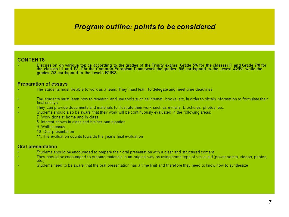 Program outline: points to be considered
