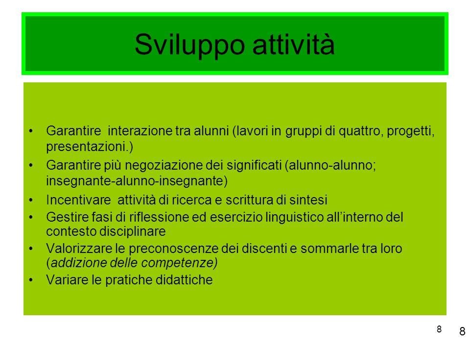 Sviluppo attività Garantire interazione tra alunni (lavori in gruppi di quattro, progetti, presentazioni.)