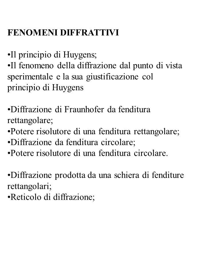 FENOMENI DIFFRATTIVI •Il principio di Huygens;