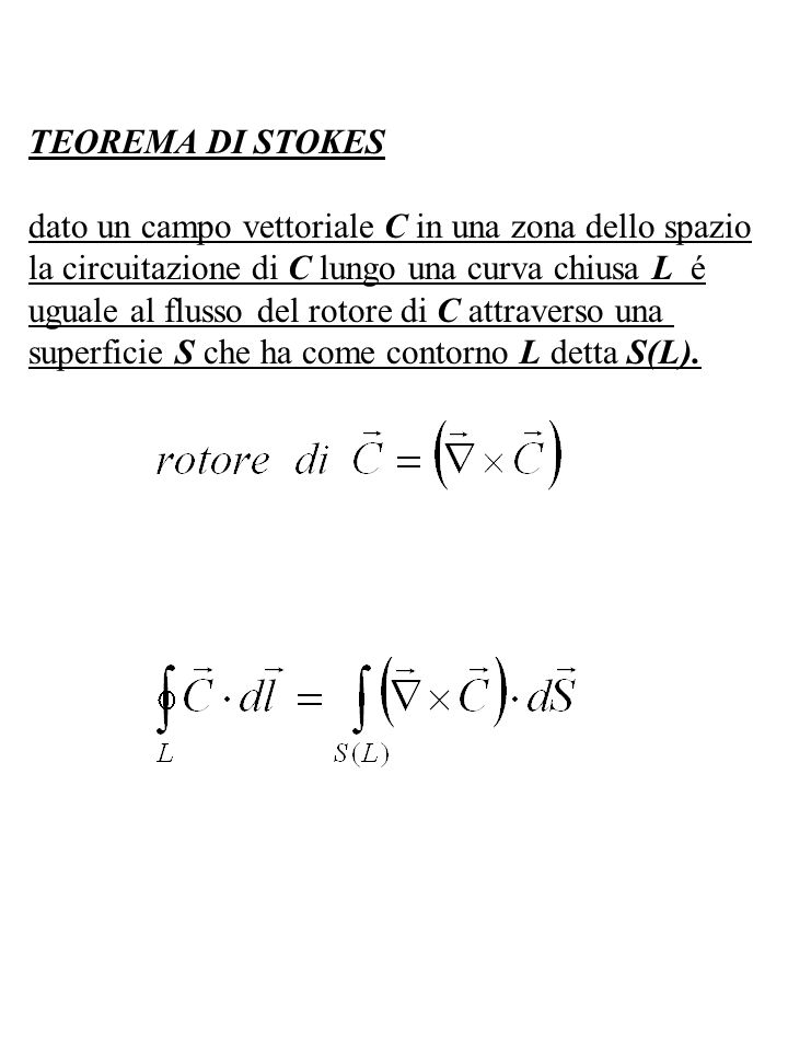 TEOREMA DI STOKES dato un campo vettoriale C in una zona dello spazio. la circuitazione di C lungo una curva chiusa L é.