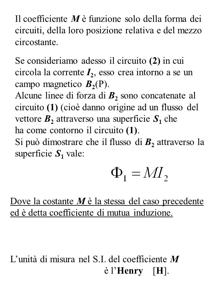 Il coefficiente M è funzione solo della forma dei