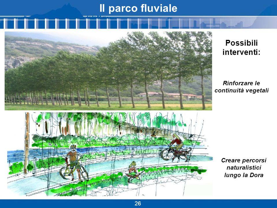 Il parco fluviale Possibili interventi: