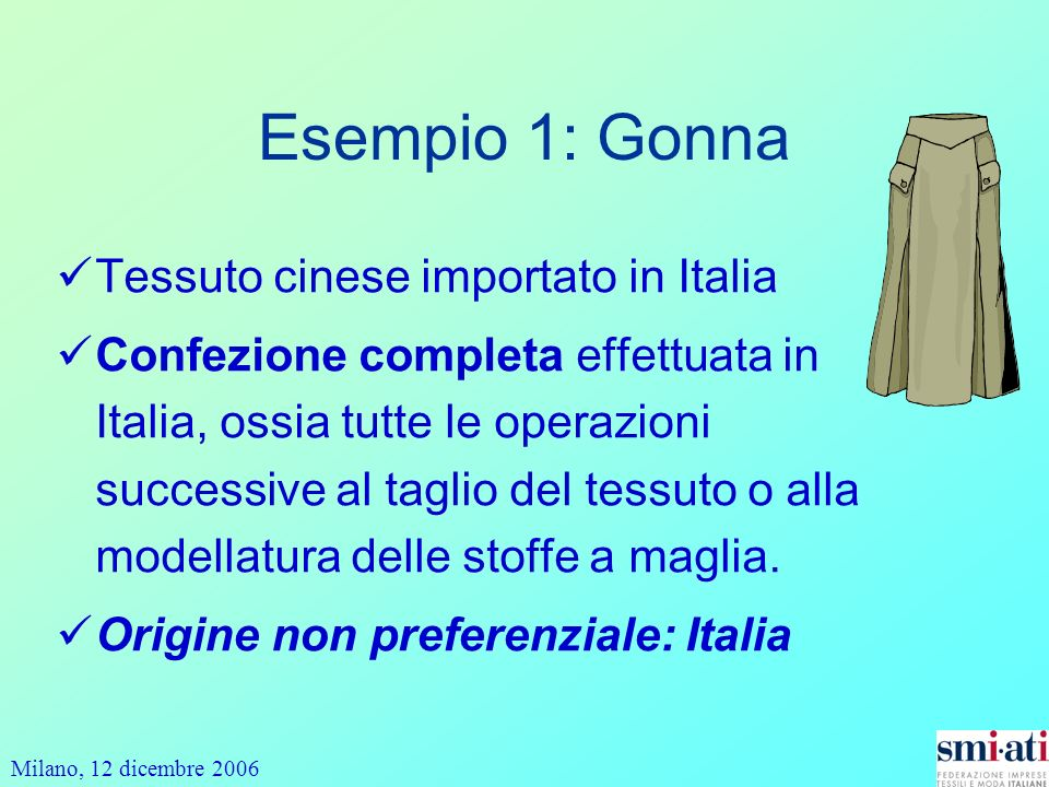 Esempio 1: Gonna Tessuto cinese importato in Italia
