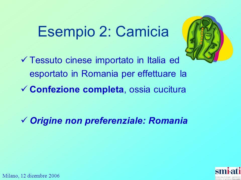 Esempio 2: Camicia Tessuto cinese importato in Italia ed esportato in Romania per effettuare la. Confezione completa, ossia cucitura.