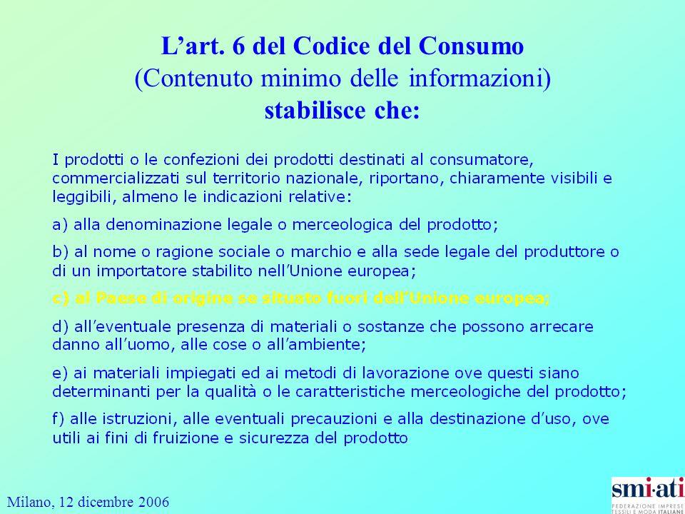 L'art. 6 del Codice del Consumo (Contenuto minimo delle informazioni) stabilisce che: