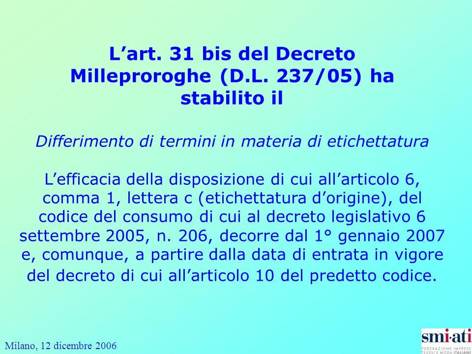 L'art. 31 bis del Decreto Milleproroghe (D.L. 237/05) ha stabilito il