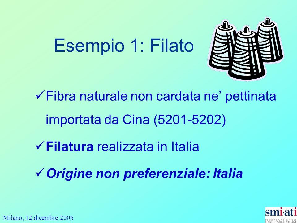 Esempio 1: Filato Fibra naturale non cardata ne' pettinata importata da Cina (5201-5202) Filatura realizzata in Italia.