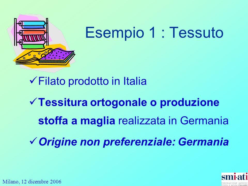Esempio 1 : Tessuto Filato prodotto in Italia