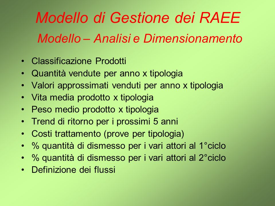 Modello di Gestione dei RAEE Modello – Analisi e Dimensionamento