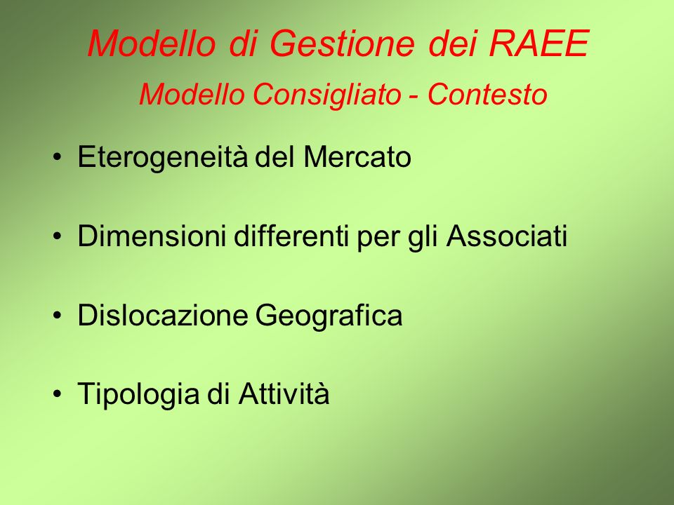 Modello di Gestione dei RAEE Modello Consigliato - Contesto
