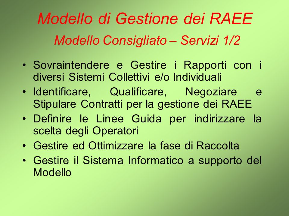 Modello di Gestione dei RAEE Modello Consigliato – Servizi 1/2
