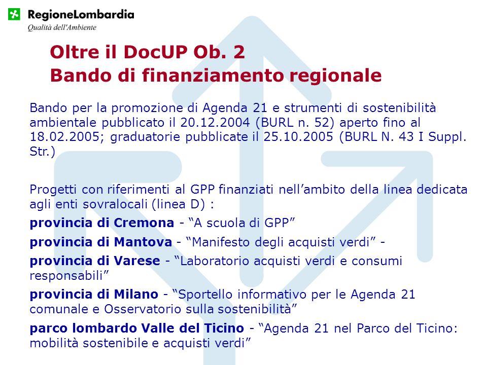 Bando di finanziamento regionale