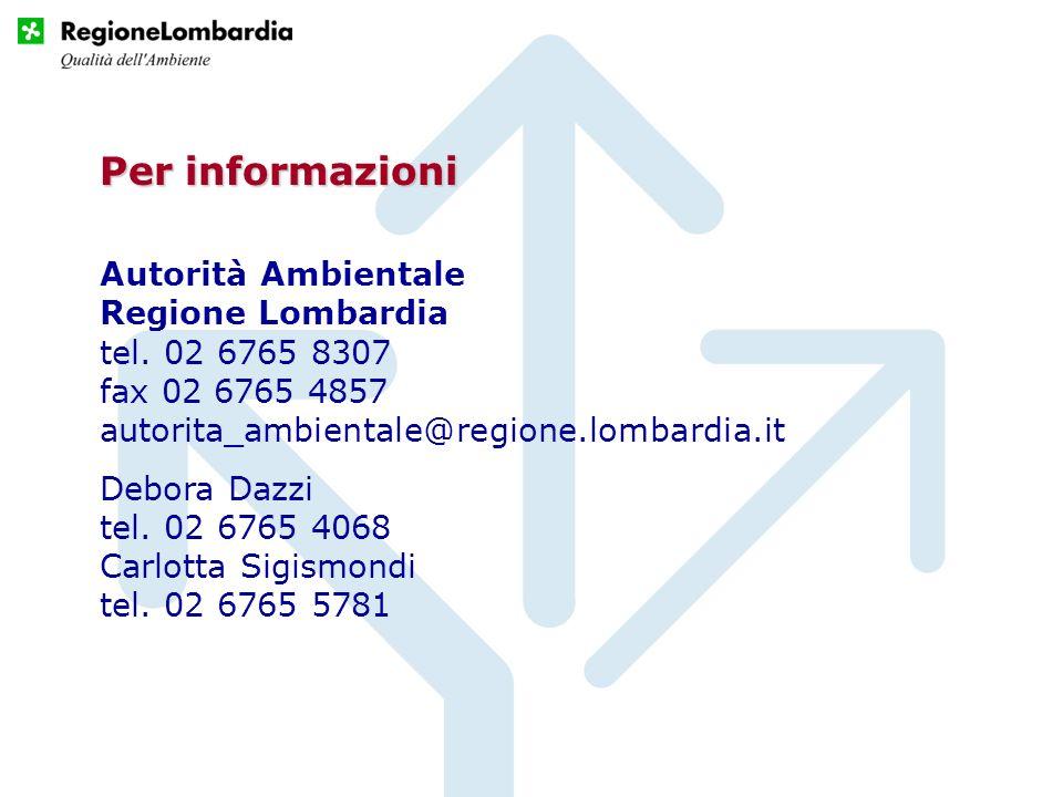 Per informazioniAutorità Ambientale Regione Lombardia tel. 02 6765 8307 fax 02 6765 4857 autorita_ambientale@regione.lombardia.it.