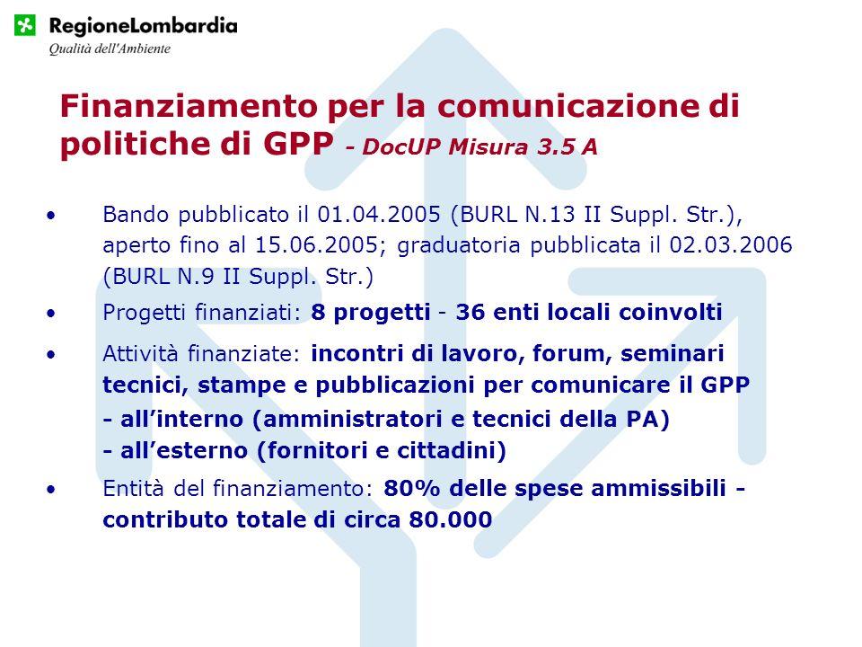 Finanziamento per la comunicazione di politiche di GPP - DocUP Misura 3.5 A