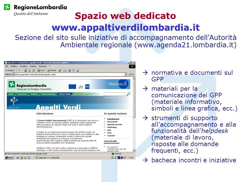 Spazio web dedicato www.appaltiverdilombardia.it