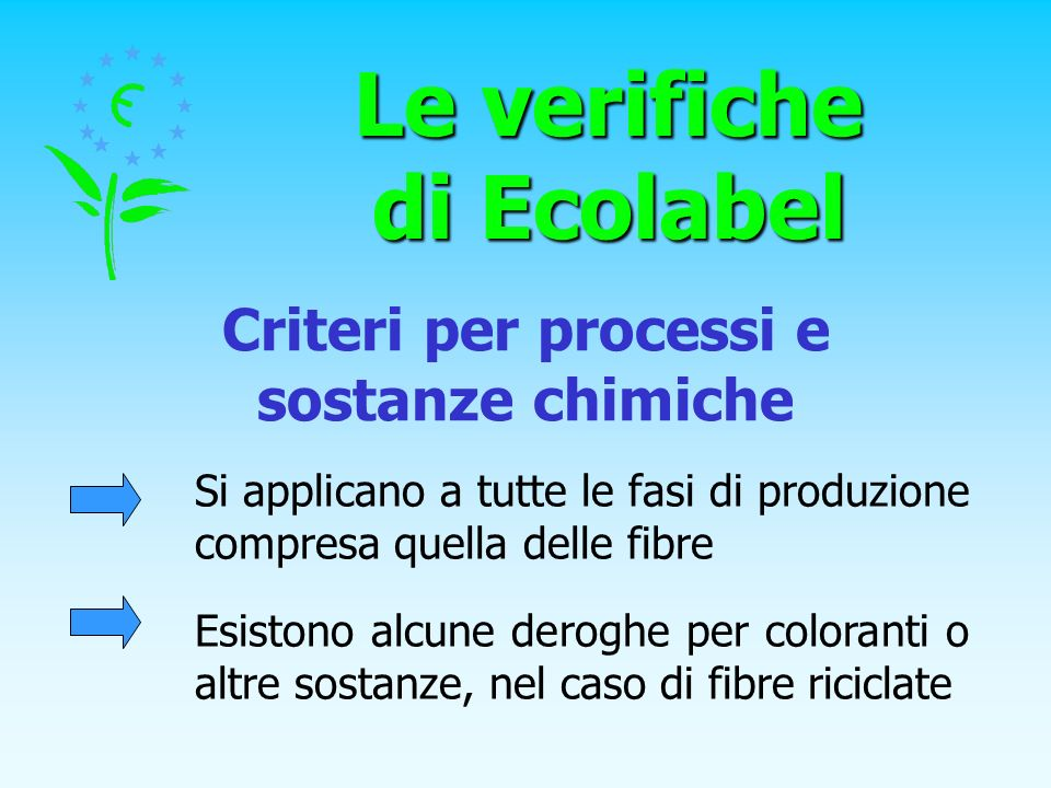 Le verifiche di Ecolabel Criteri per processi e sostanze chimiche